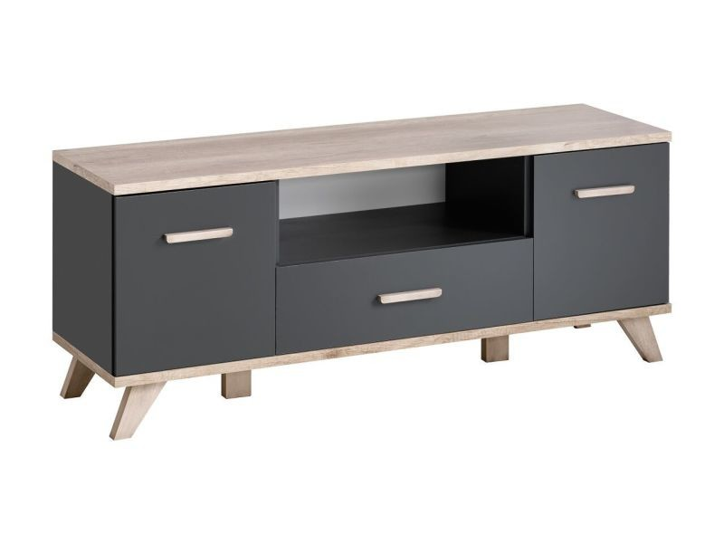 meuble tv oslo gris mat et bois mat 137 cm conforama. Black Bedroom Furniture Sets. Home Design Ideas
