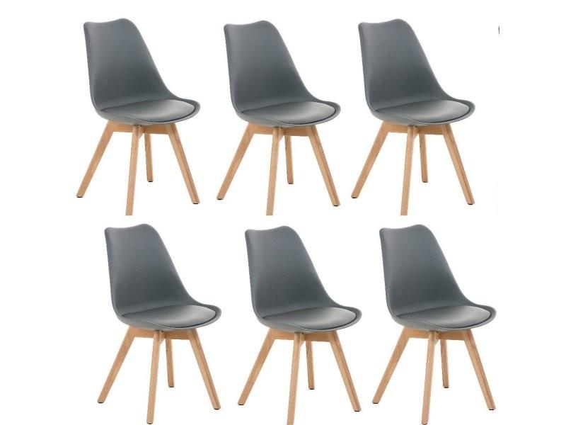 chaises Lot cuir 6 manger à scandinave salle de de simili 4A35jLqR