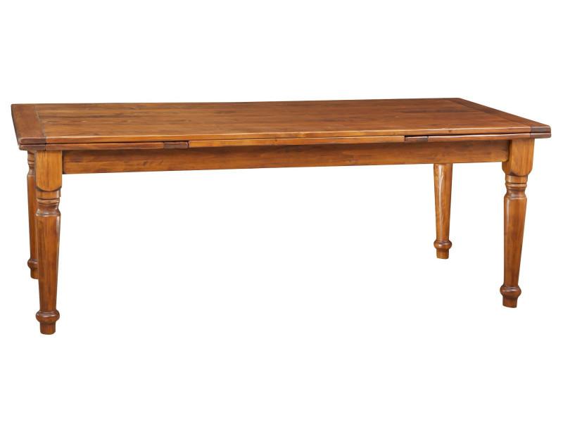 Table à rallonge en bois massif de tilleul, finition noyer l220xpr100xh80 cm