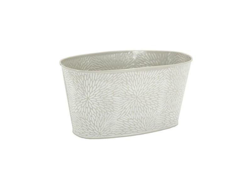 Corbeille rectangulaire en métal laqué motif floral 24 x 13 x 12 cm