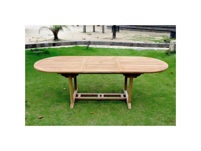 Table kajang 10 : table de jardin ovale extensible en teck ...