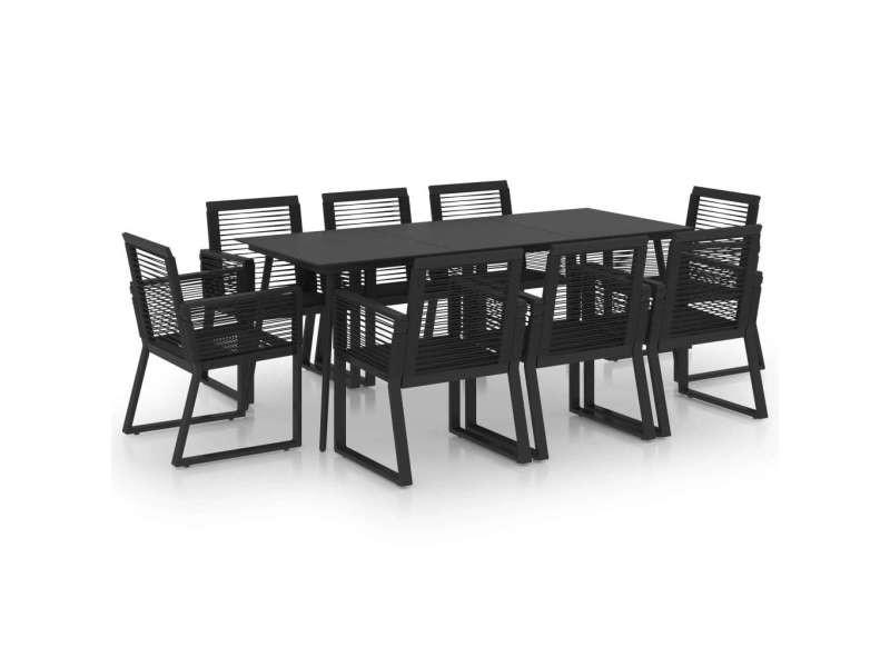 Vidaxl ensemble à dîner d'extérieur 9 pcs rotin pvc noir 3060218