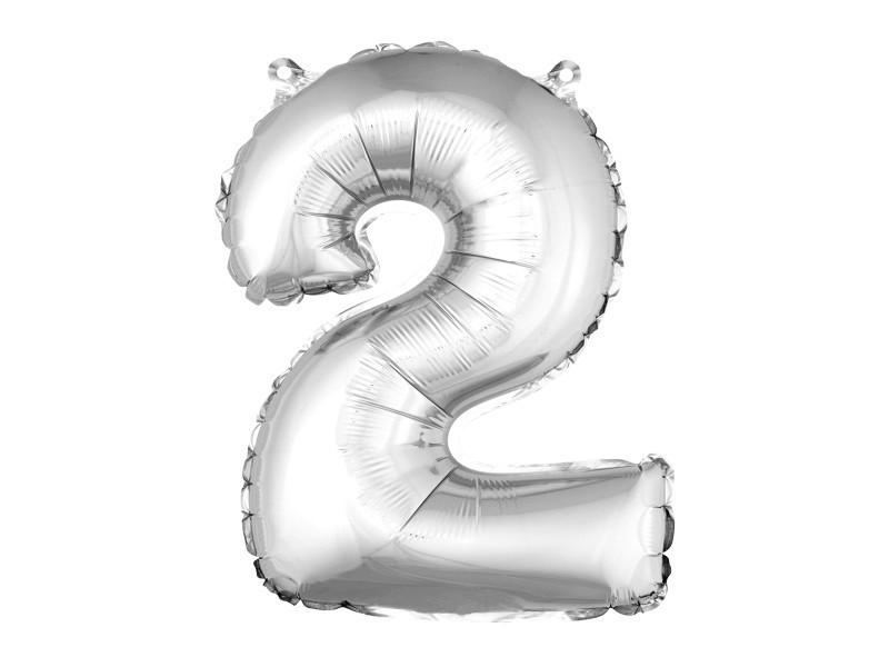 Lot de 12 ballons unis métallisés en aluminium argent chiffre 2 - h 36 cm