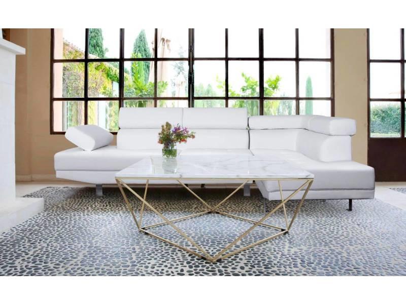 Table basse magny marbre blanc et pieds métal doré