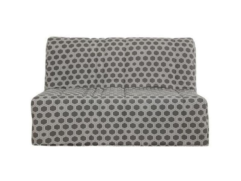 Banquette bz - matelas 140x190 - tissu gris - l 149 x p 55 x h 43 cm - made in france - charline CHARLINEBZGR