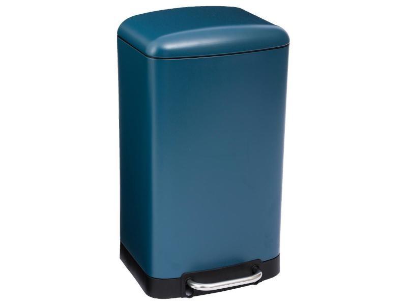 Five - poubelle en métal 30 litres coloris bleu ouverture à pédale