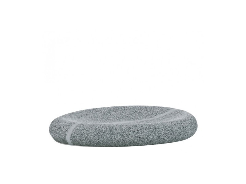 Porte savon ovale gris en polyester aspect pierre naturelle