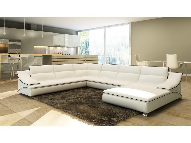 Canapé d'angle en cuir blanc et noir design roxane-