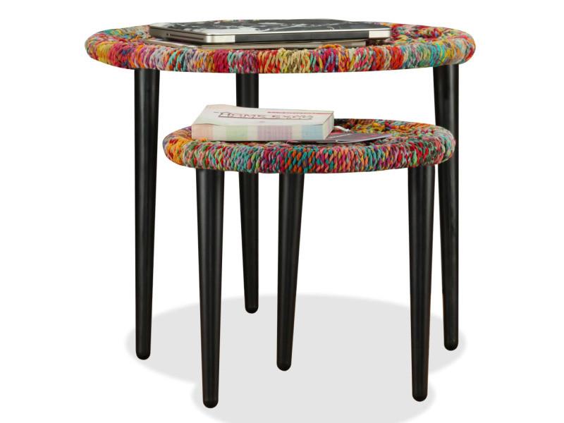 Icaverne - tables basses serie table basse 2 pcs détails tissés chindi multicolore