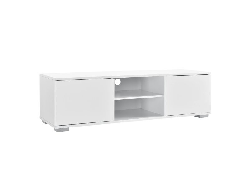 Meuble tv buffets bas téléviseur armoire mdf 120 cm blanc helloshop26 03_0002867