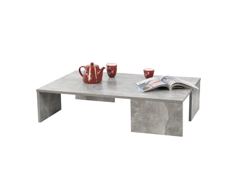 Table basse rectangulaire pour salon meuble design en panneau de particules mélaminé 21 x 90 x 60 cm effet béton [en.casa]