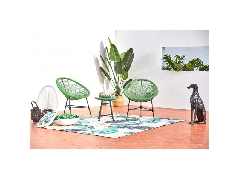 Acapulco : ensemble 2 fauteuils oeuf + table basse vert ...