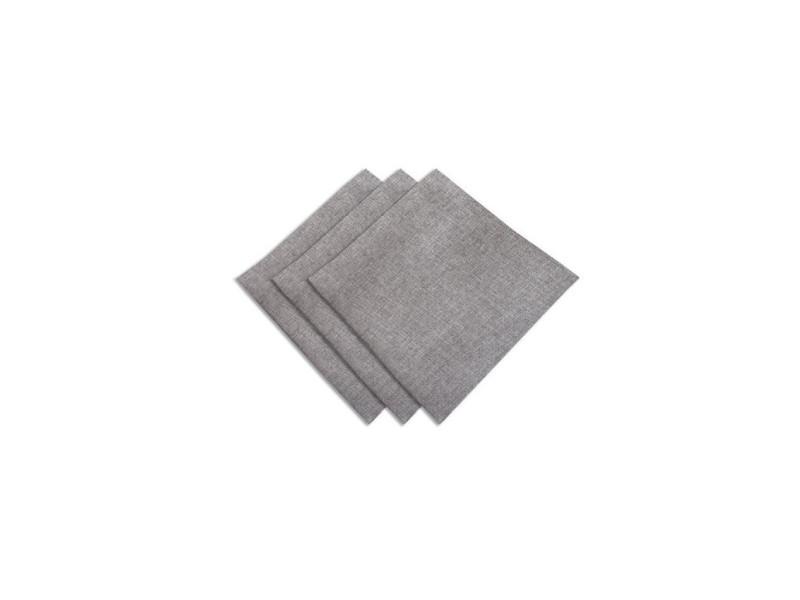 Sucre d'ocre lot de 3 serviettes bella - 45x45cm - polyester gris