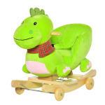 Cheval à bascule jouet à bascule dinosaure et porteur sur roulettes 2 en 1 fonction musicale 32 pistes ceinture sécurité vert neuf 68