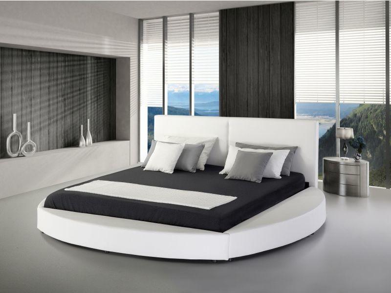 Lit design rond en cuir blanc 180 x 200 cm laval 17205