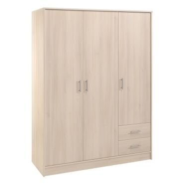 armoire 3 portes soft 133 x 50 x 180 cm coloris. Black Bedroom Furniture Sets. Home Design Ideas