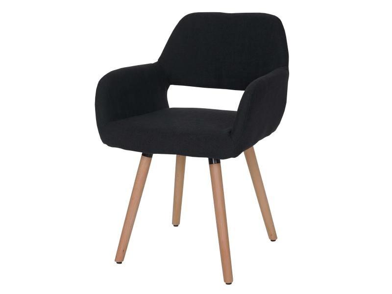 Chaise de salle à manger altena ii, fauteuil, design rétro des années 50 ~ tissu, noir