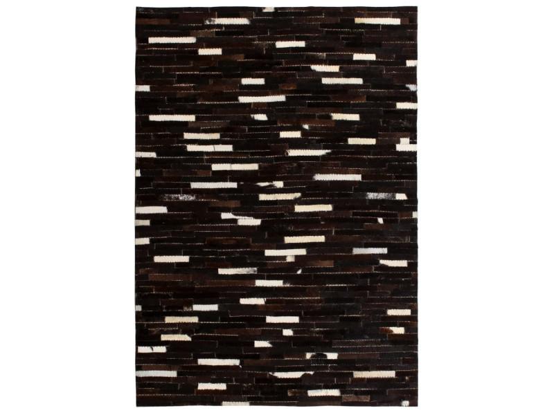 Vidaxl tapis cuir véritable patchwork 80 x 150 cm rayures noir/blanc ...
