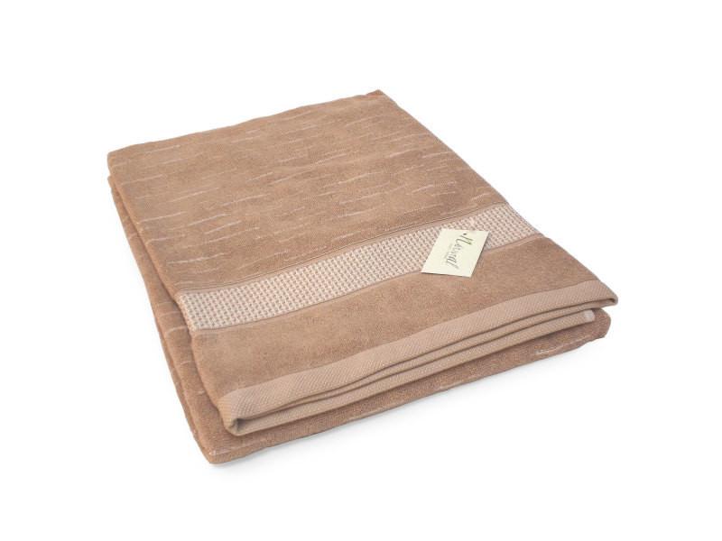 Drap de bain 90x200 cm ficus marron 500 g m2 pur coton bio vente de accessoires de salle de for Accessoire salle de bain marron