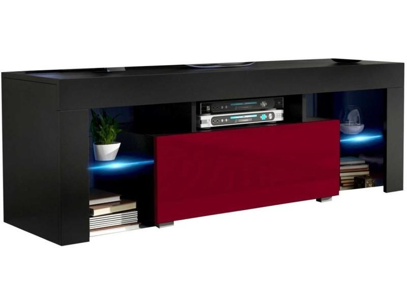 Meuble tv 130 cm noir mat et bordeaux brillant led rgb