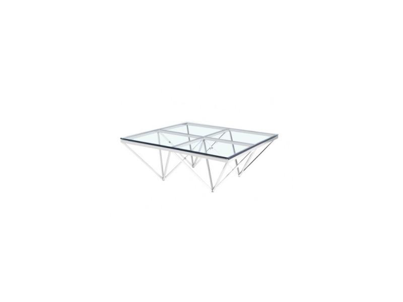 Table Basse Moderne 105 Cm Verre Et Chrome Liege Vente De Versa
