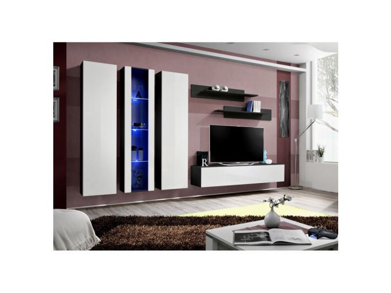 Ensemble meuble tv mural - fly iv - 310 cm x 190 cm x 40 cm - noir et blanc