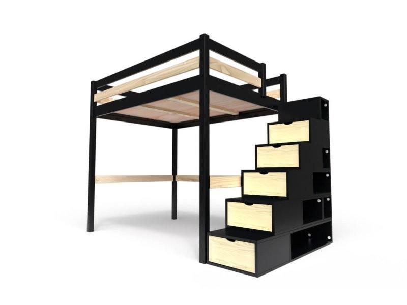 Lit mezzanine sylvia avec escalier cube bois 140x200 noir/vernis naturel CUBE140-NV