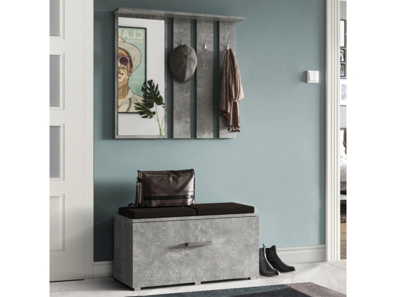 meuble chaussures vestiaire d 39 entr e avec miroir opal b ton selsey france vente de. Black Bedroom Furniture Sets. Home Design Ideas