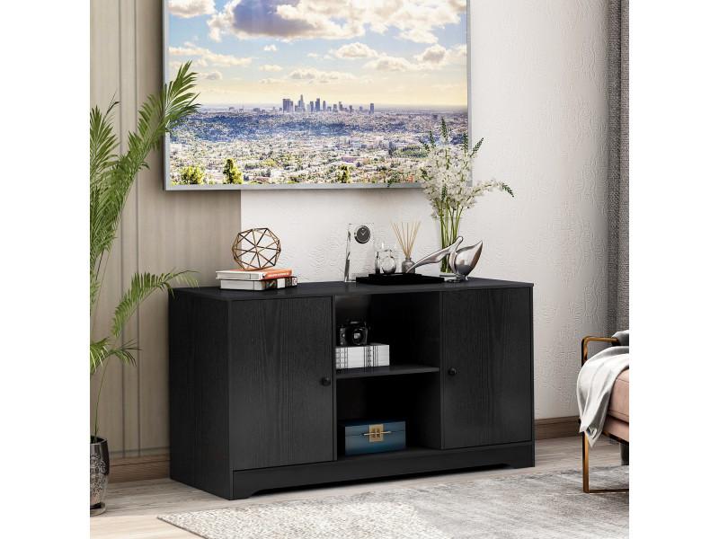 Meuble tv noir en bois avec étagères de rangement ouvertes et 2 armoires