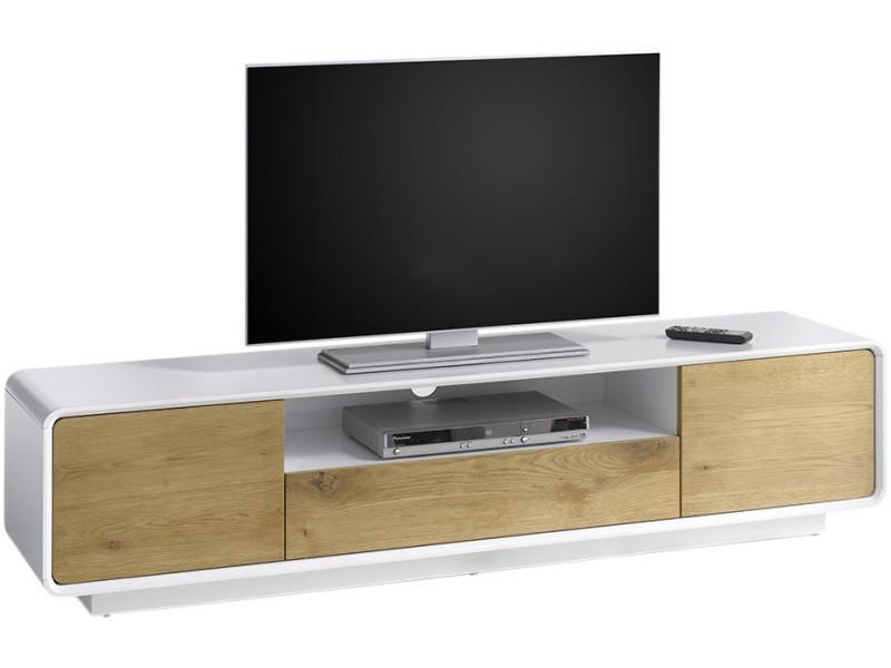 Meuble Tv 2 Portes Et 1 Tiroir Design Marron Et Blanc Mat En Bois