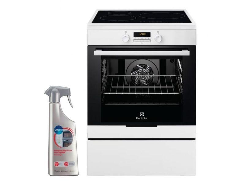 Cuisinière induction blanc 3 plaques 60x60cm four pyrolyse 73l multifonction