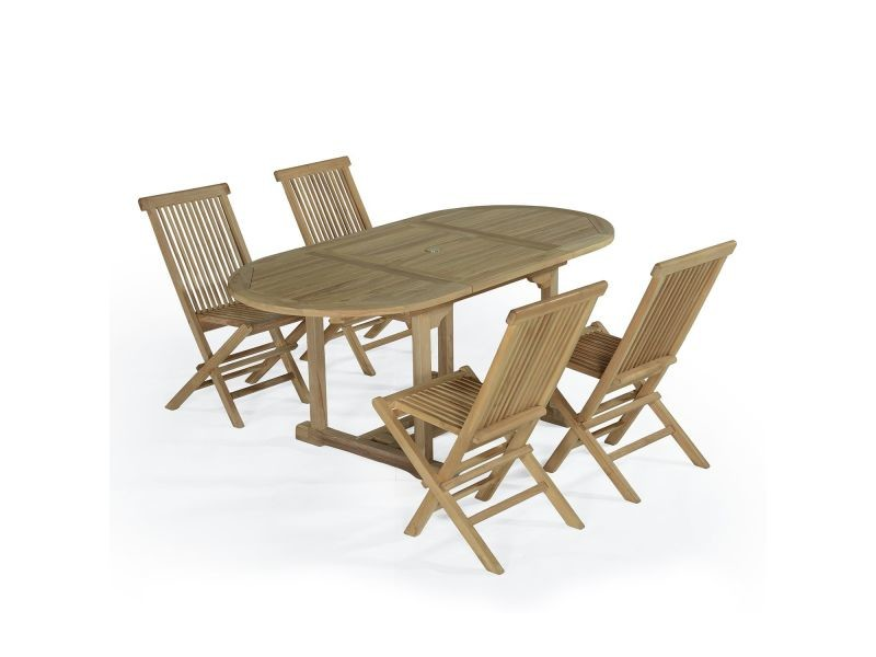 Salon de jardin en teck ecograde hawai, table extensible 1,2 à 1,8 m ...