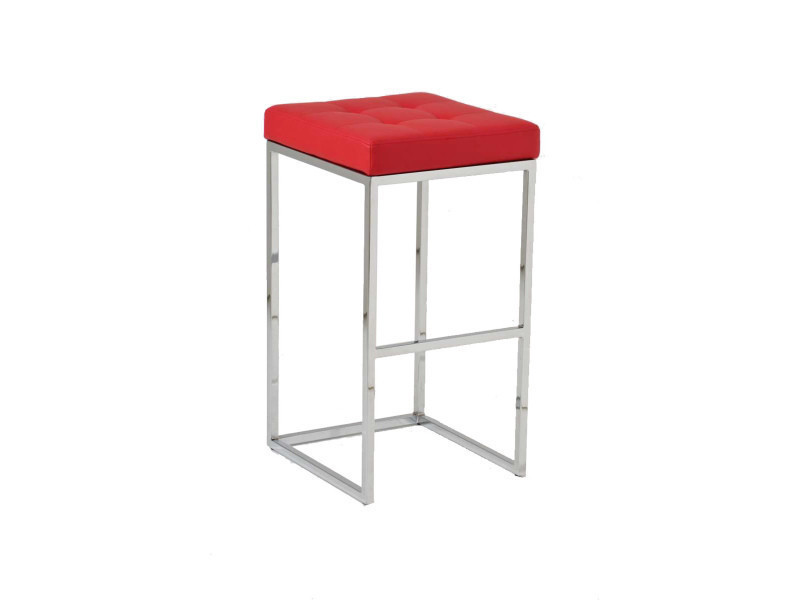 Tabouret de bar avec siège en polyuréthane coloris rouge - 77 x 41 x 45 cm -pegane-