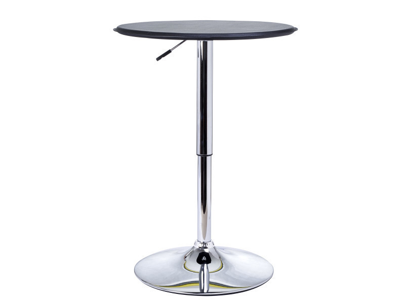 Table de bar table bistrot chic style contemporain table ronde hauteur réglable 67-93 cm ø 63 cm métal chromé pvc noir