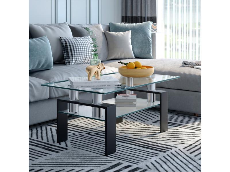 Giantex table basse en verre trempé rectangulaire 99 x 59,5 x 44,5 cm tube en acier inoxydable et pied en fer solide, noir