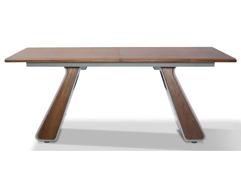 Table à manger extensible bois/laqué isora - noyer/gris - gris