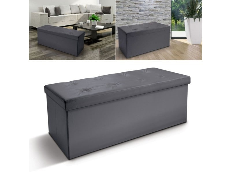 banc coffre rangement pvc gris 100x38x38 cm pliable vente de id market conforama. Black Bedroom Furniture Sets. Home Design Ideas