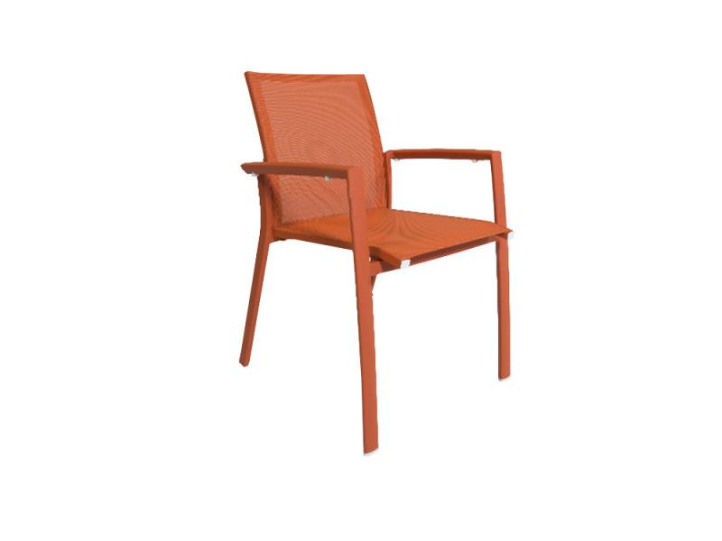 Chaise en aluminium et textilène orange sydney