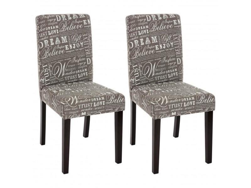 lot de 2 chaises de salle à manger en tissu imprimé gris pieds ... - Chaise Conforama Salle A Manger