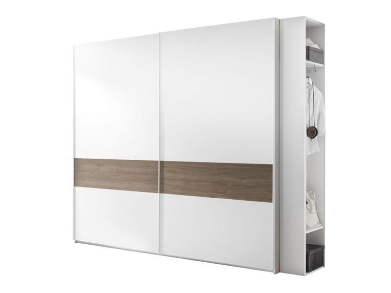 Armoire 2 portes coulissantes blanc/noyer foncé - aniece n°4 - l 275 x l 64 x h 248 - neuf