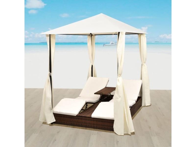 Magnifique sièges d'extérieur categorie thimphou lit de repos 2 places avec rideaux résine tressée marron
