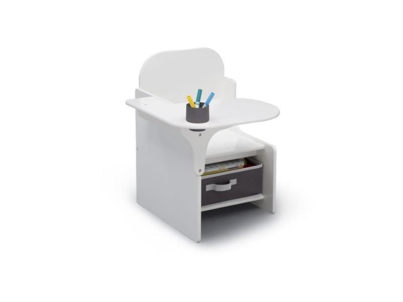 Chaise blanche avec bureau et rangement intégré signature delta children