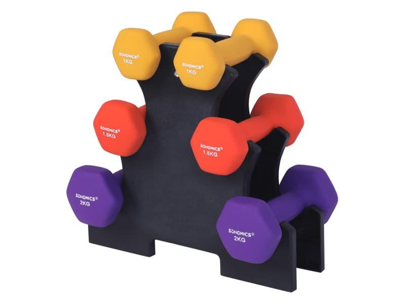Songmics haltère 1 paire, salle de sport , musculation, entraînement revêtement en vinyle antiglisse, 2 x 1,0 kg + 2 x 1,5 kg + 2 x 2,0 kg syl69bk 2 x 1,0 kg + 2 x 1,5 kg + 2 x 2,0 kg