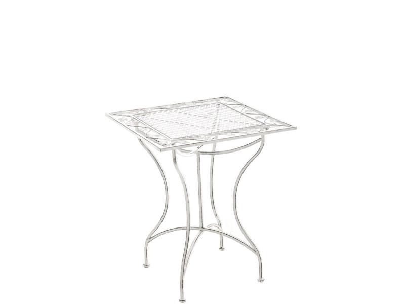 Table de jardin en fer forgé asina 60 x 60 cm , blanc antique