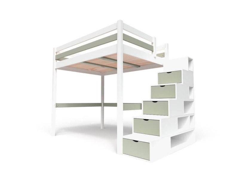 Lit mezzanine sylvia avec escalier cube bois 140x200 blanc/moka CUBE140-LBMO