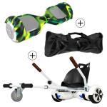 Accessoire hoverboard 6,5 pouces :  pack essentiel 3 en 1 : hoverkart blanc +  coque/housse silicone militaire +  sac de transport