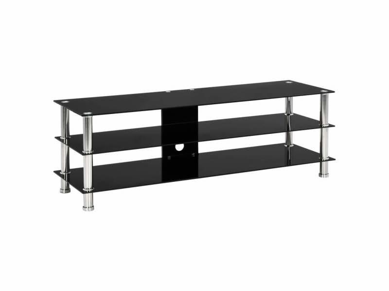 Meuble télé buffet tv télévision design pratique noir 120 cm verre trempé helloshop26 2502050