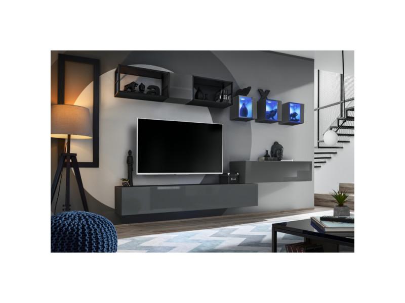 Ensemble meuble tv mural switch met iii - l 280 x p 40 x h 170 cm - gris