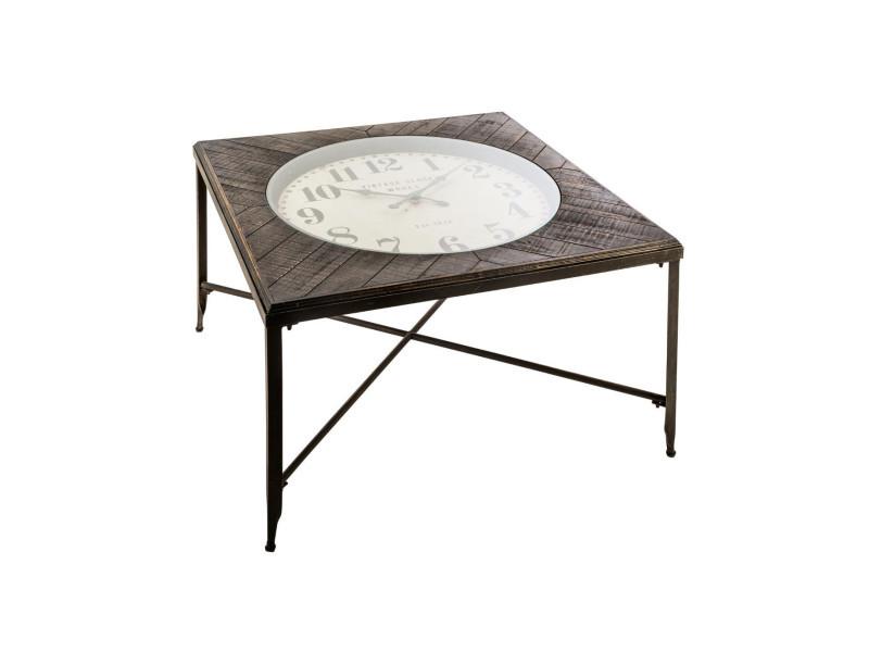 Atmosphera - table basse carré avec pendule style rétro en métal et bois