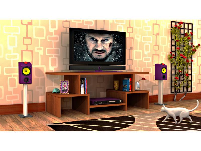 Meuble tv design twist4 motif bois noyer marron clair